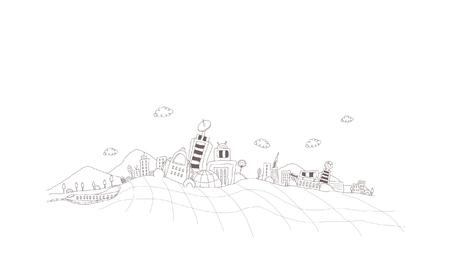 global communication: Buildings on a landscape Illustration