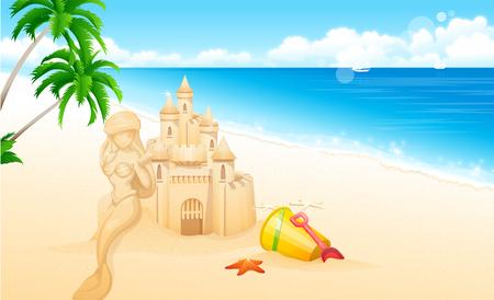 horizon over water: Sandcastle on the beach