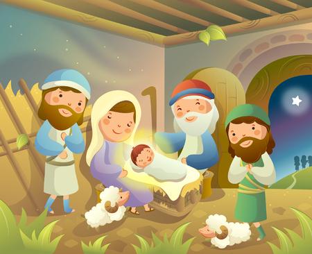 jesus standing: Virgin Mary sitting with Jesus Christ and three wise men around them Illustration