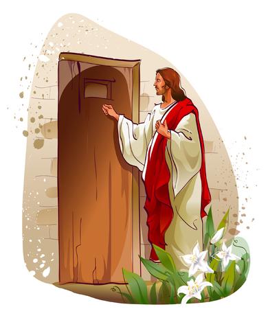 문을 두드리는 예수 그리스도 일러스트