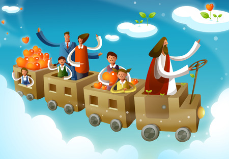 Group of people traveling in a train in the sky driven by Jesus Christ Illustration