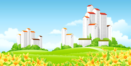 Low angle view of buildings Illustration
