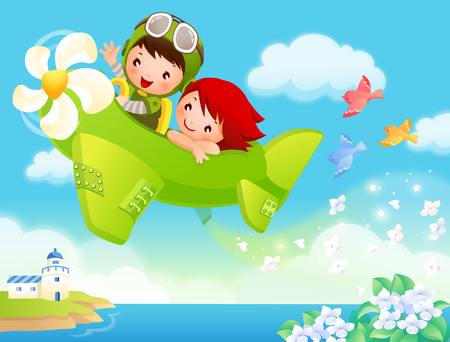 Boy and a girl traveling in an airplane 向量圖像