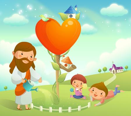 sit down: Figura de Jesucristo regando una planta y dos niños jugando en la hierba