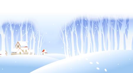 Footprints on the snow Illustration