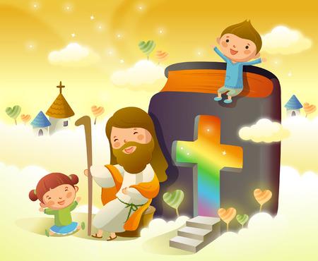 두 아이와 앉아서 웃고있는 예수 그리스도