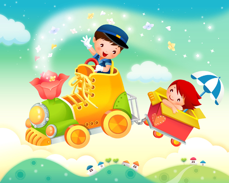 rolling landscape: Boy and a girl in a toy train