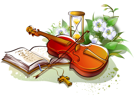 bible flower: Close-up of the Bible and a violin with an hourglass
