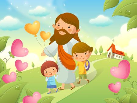 Jezus Christus loopt met twee kinderen