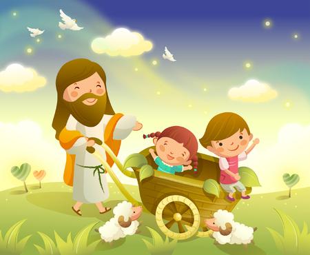 Jesus Christ carrying two children in a wheelbarrow