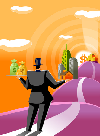 Rear view of a man holding buildings and money bags in his hands