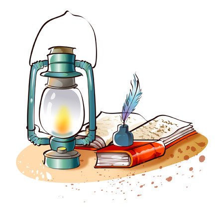 ink well: Close-up of a lantern and the Bible Illustration