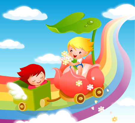 eyes are closed: Boy with a girl traveling on a vehicle Illustration