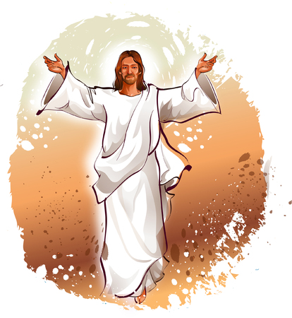 Jesus Christ blessing with his arms outstretched