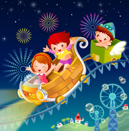 Two girls and a boy on a ride
