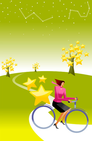 horizon over land: Side profile of a woman riding a bicycle Illustration