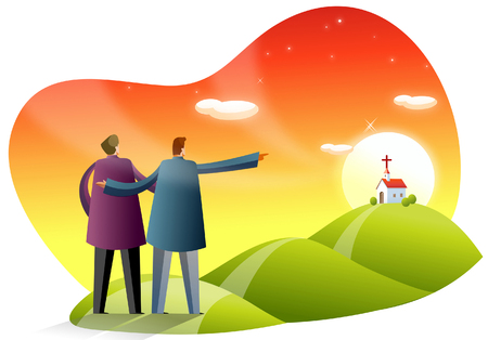 Rear view of two men pointing toward a church Illustration