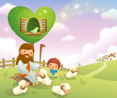 rolling landscape: Jesus Christ sitting with sheep and a boy