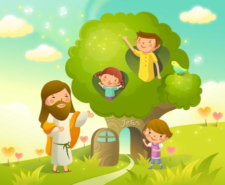 男と彼の 2 人の子供イエス ・ キリストの側に立って