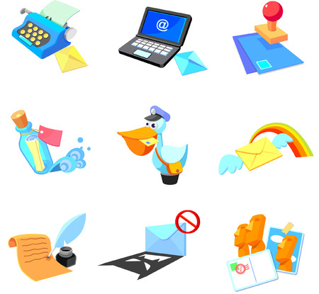 ink well: Objects related to communication media on a white background
