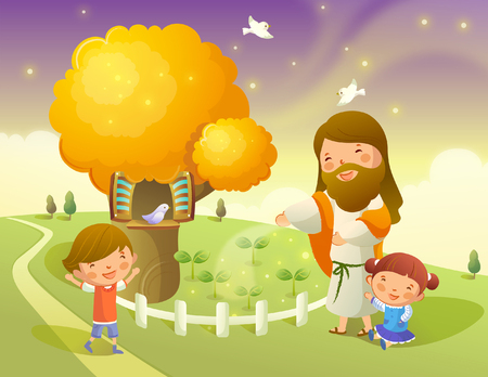 outstretched: Jesus Christ playing with two children