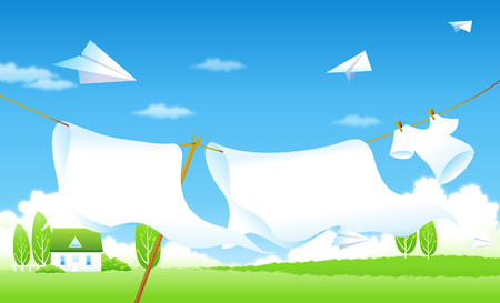 horizon over land: Clothes drying on a clothesline Illustration