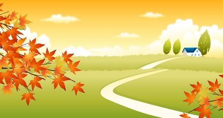 field maple: Path passing through a field Illustration