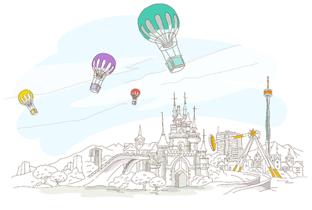 Low angle view of hot air balloons over a city Ilustrace
