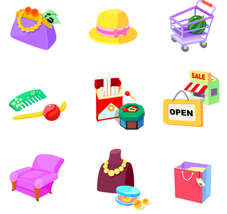 matchbox: Various shopping related objects on a white background