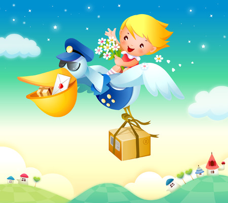 Girl flying on a bird and holding bunch of flowers Illustration
