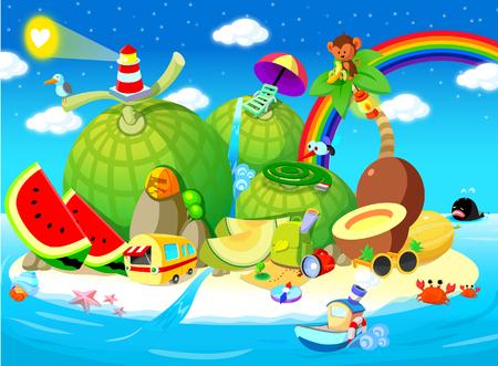 watermelon boat: Fruits on an island