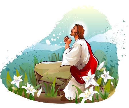 Zijprofiel van Jezus Christus bidden Stock Illustratie