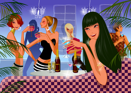 Gruppo di donne in una discoteca Archivio Fotografico - 78588271