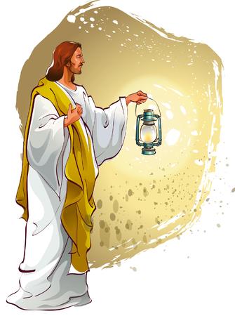 イエス ・ キリストの灯を保持  イラスト・ベクター素材
