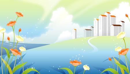 Buildings on a landscape Illustration