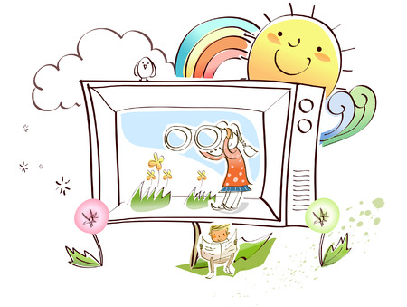 rainbow sky: Man sitting in front of a television and reading a newspaper