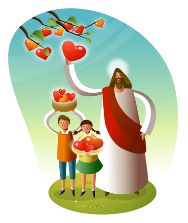 Jesus Christ standing with two children Illustration