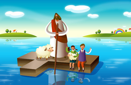 jesus standing: Jesus Christ with a boy and a girl on a cross in the river Illustration
