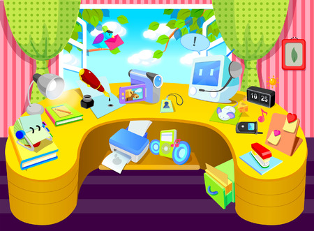 Group of objects at a table near a window Illustration
