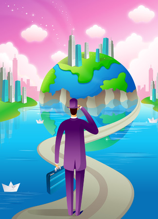 Rear view of a businessman standing on the path leading towards a globe Illustration