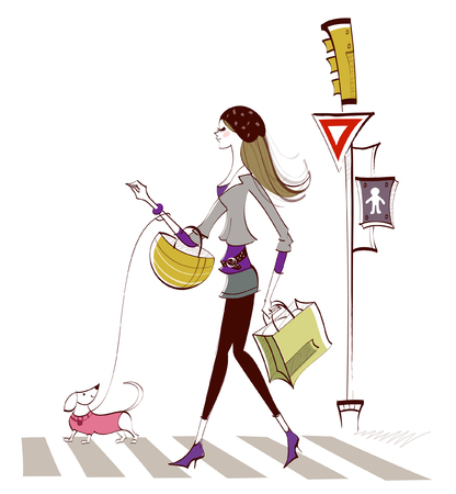 retail therapy: Side profile of a woman walking on zebra crossing with a dog