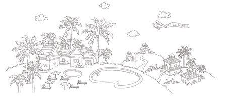High angle view of a tourist resort Illustration