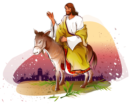 Jesus Christ riding a donkey and blessing