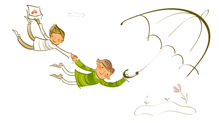 Happy Couple holding hands and flying Illustration