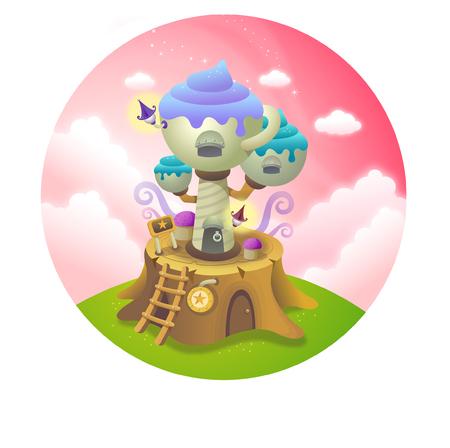 Entertainment building on a tree stump