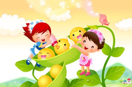 エンドウ豆にミルクを供給する 2 人の女の子のクローズ アップ