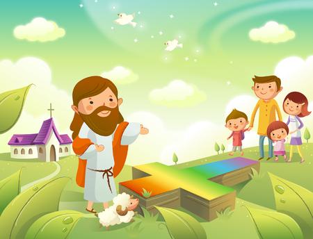 イエス ・ キリスト家族に向かってジェスチャー  イラスト・ベクター素材