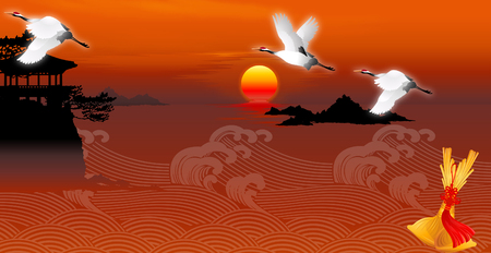 horizon over water: Three pelicans flying over the sea Illustration