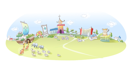 Group of animals reaching to Noahs ark Illustration