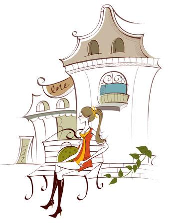Vrouw zittend op de bank voor een gebouw